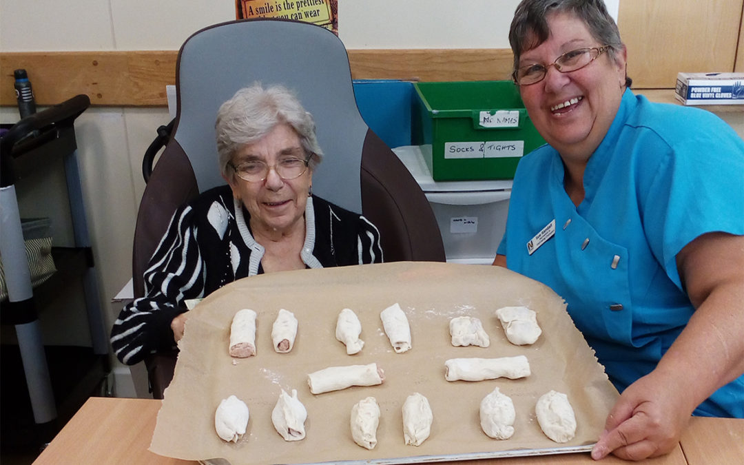 Making sausage rolls at Hengist Field Care Home