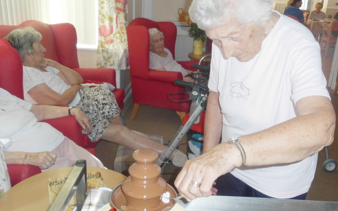 Chocolate fountain fun at Woodstock Residential Care Home