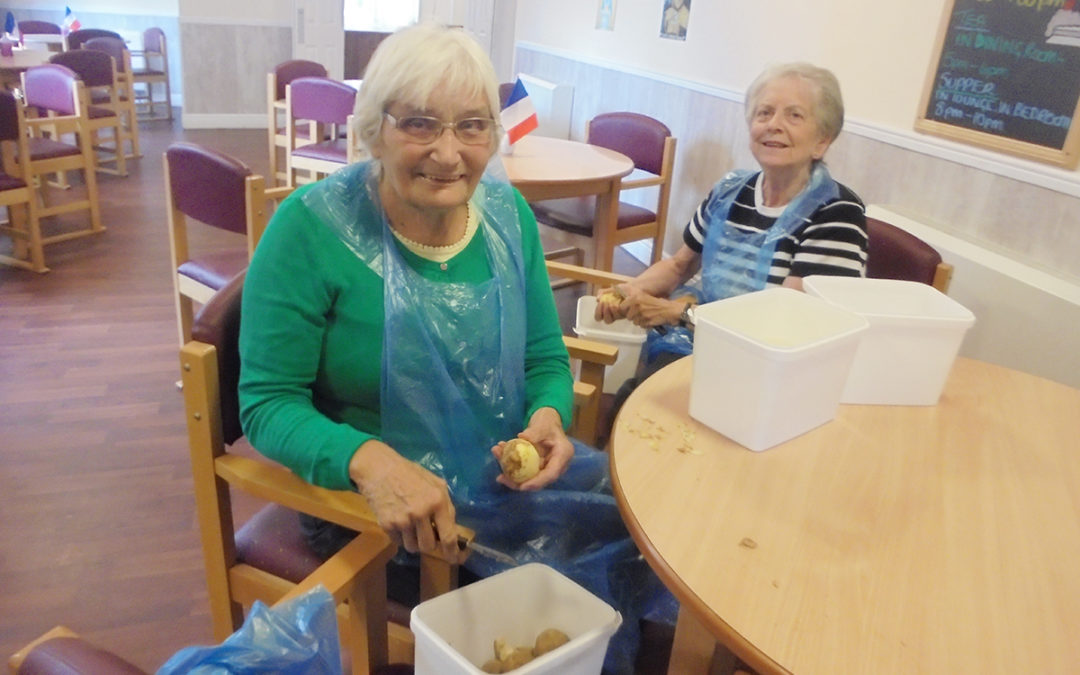 Eager peelers at The Old Downs Residential Care Home