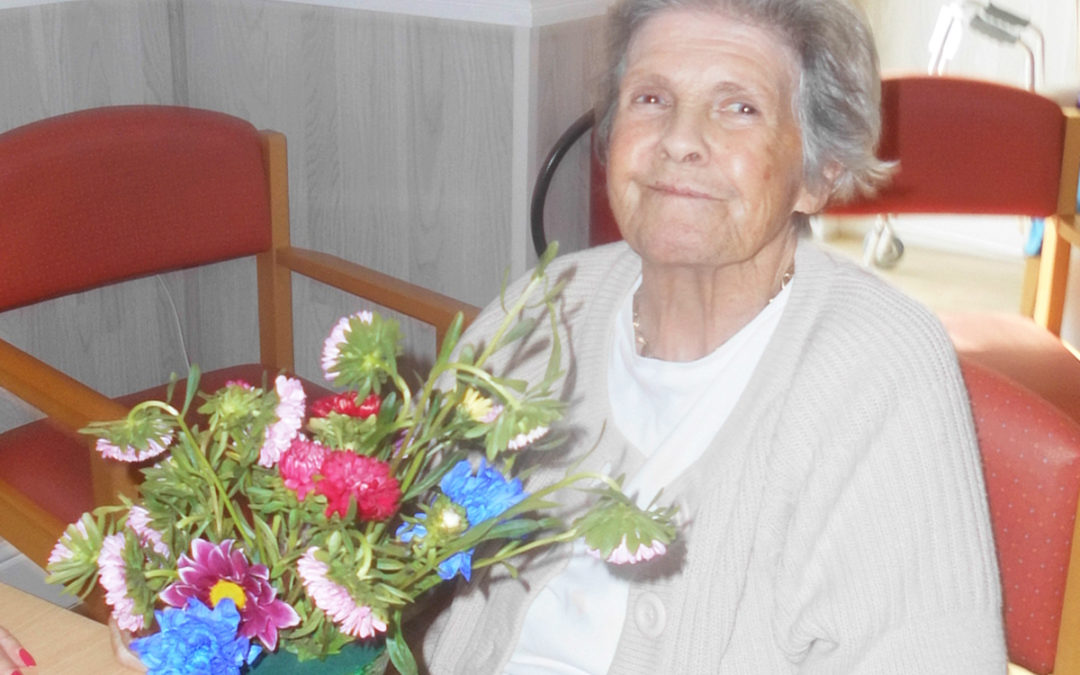 Flower arranging at Woodstock Residential Care Home