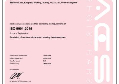 Princess Christian Care Centre's ISO 9001:2015 certificate
