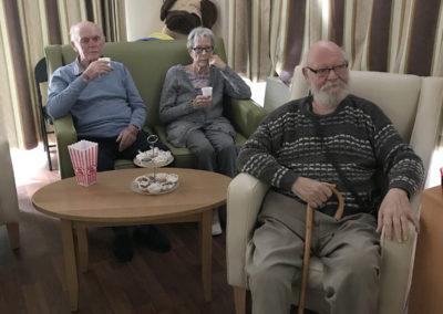 Lulworth House residents enjoy a film together