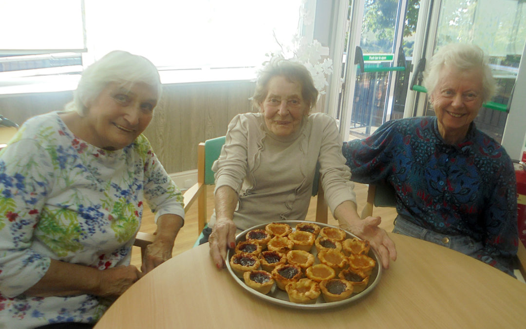 Three ladies at The Old Downs Residential Care Home baked made homemade jam tarts