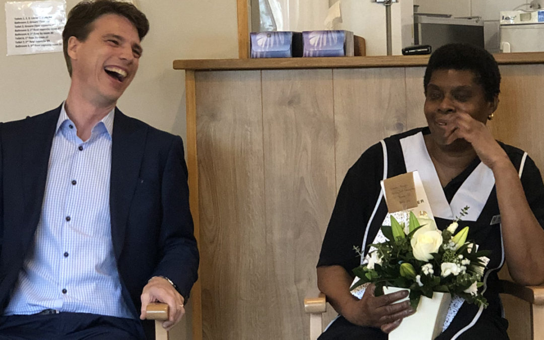 Staff member Edna at Bromley Park Care Home with Martin Barrett Managing Director