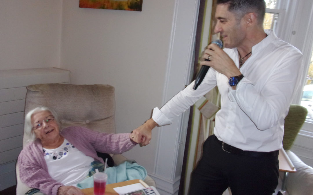 Kevin Walsh sings for residents at Loose Valley Care Home