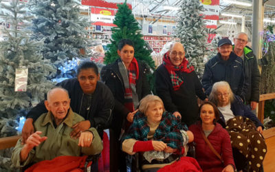 Lukestone Care Home residents by the Christmas trees at Polhill Garden Centre