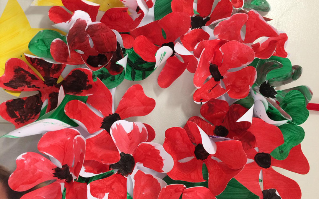 A colourful poppy display painted by Meyer House Care Home residents