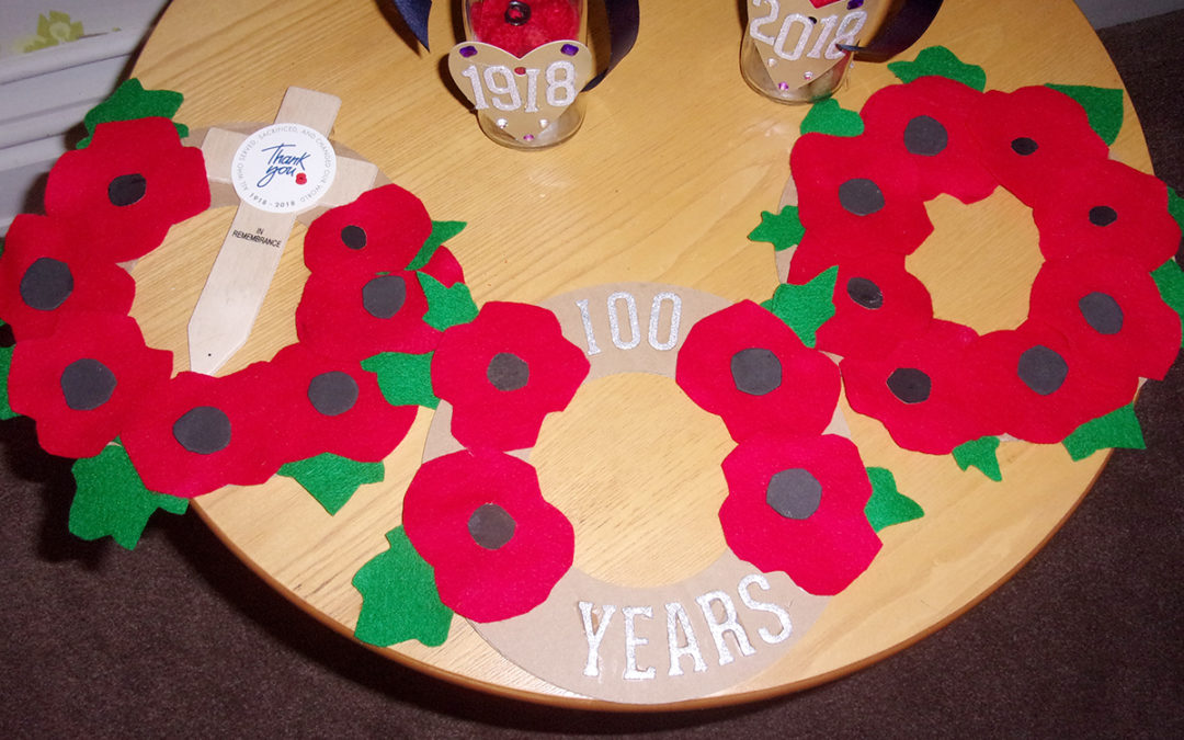 Loose Valley's Care Home commemorative Poppy display 2018