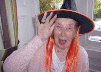 Loose Valley resident dressed as as witch with orange hair