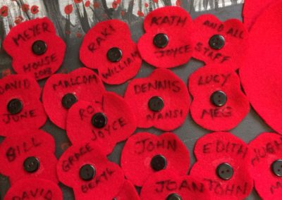 Meyer House residents made a felt poppy and wrote their name it for the big picture