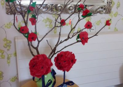 A decorated tree branch from the Loose Valley garden