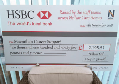The £2,195.51 giant cheque for Macmillan Cancer Support