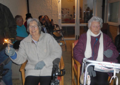 Woodstock residents and relatives gathered in the garden for their fireworks display