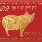 Red Chinese New Year picture, featuring a golden pig