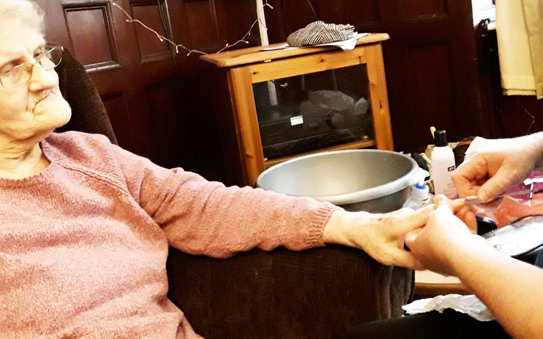 Hand pampering at Lulworth House Residential Care Home