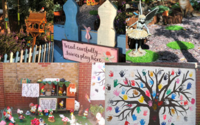 A collage of Nellsar Home gardens decorated for Nellsar in Bloom