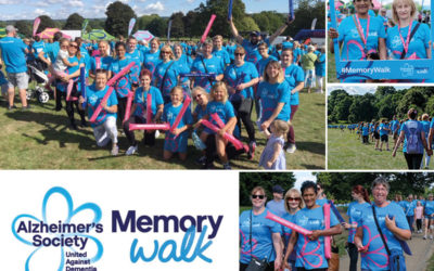 Nellsar staff and families walking the Memory Walk for the Alzheimer's Society