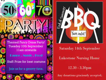 Fancy dress party and end of summer BBQ at Lukestone Care Home
