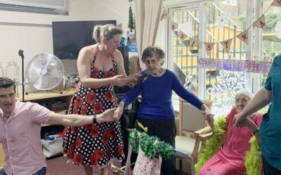 Singer Jasmine entertaining residents at Lulworth Residential Care Home