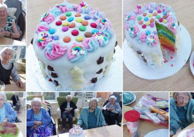 Loose Valley Care Home's rainbows and unicorns cake