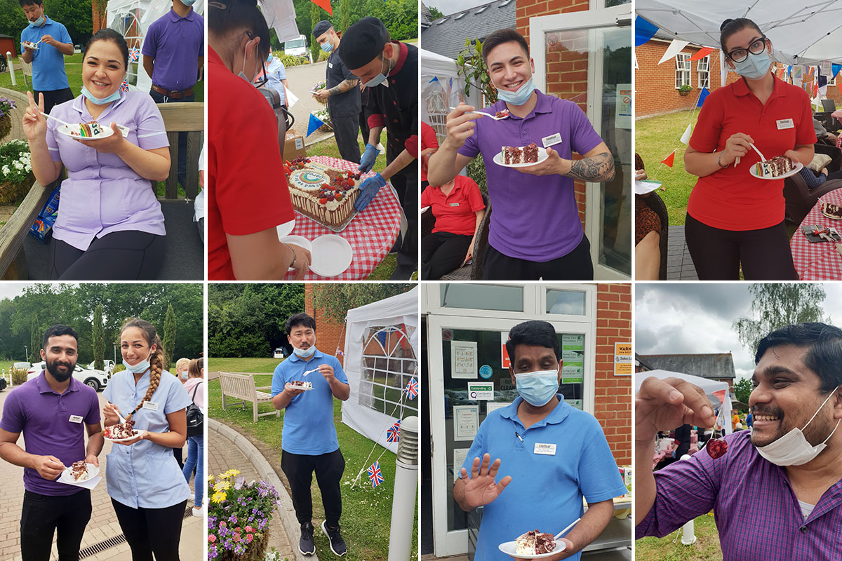 Princess Christian Care Home staff enjoying Carers Week with cake